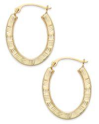 Macy's Textured Oval Hoop Earrings In 10k Gold in Gold ...