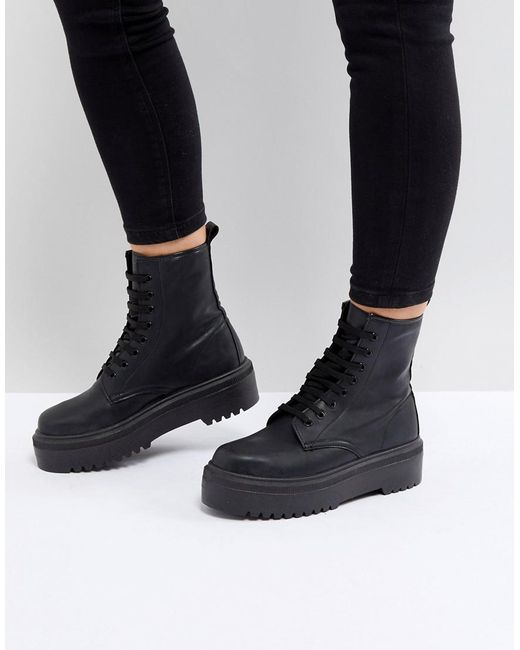 Lyst Asos Attitude Chunky Lace Up Boots In Black