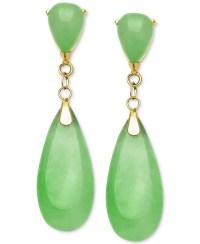 Macy's Dyed Jade Teardrop Earrings In 14k Gold (8mm) in ...