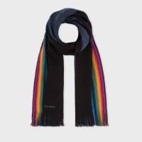 Paul smith Men's Black 'rainbow-stripe' Edge Wool Scarf in ...