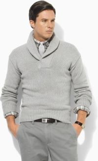 Polo Ralph Lauren Cotton Shawl-collar Sweater in Gray for ...