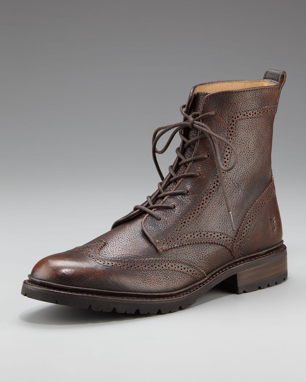 Frye James Lug Wing Tip Boot In Brown For Men Copper Lyst