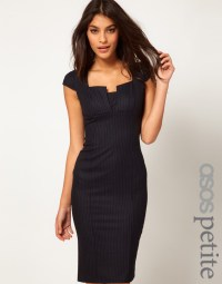Lyst - Asos Collection Sexy Pencil Dress in Pinstripe in Blue