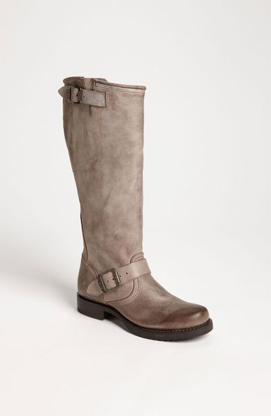 Frye Veronica Slouch Boot In Brown Slate Antiqued Leather