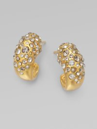 Alexis Bittar Crystal Encrusted Huggie Earrings in Gold | Lyst