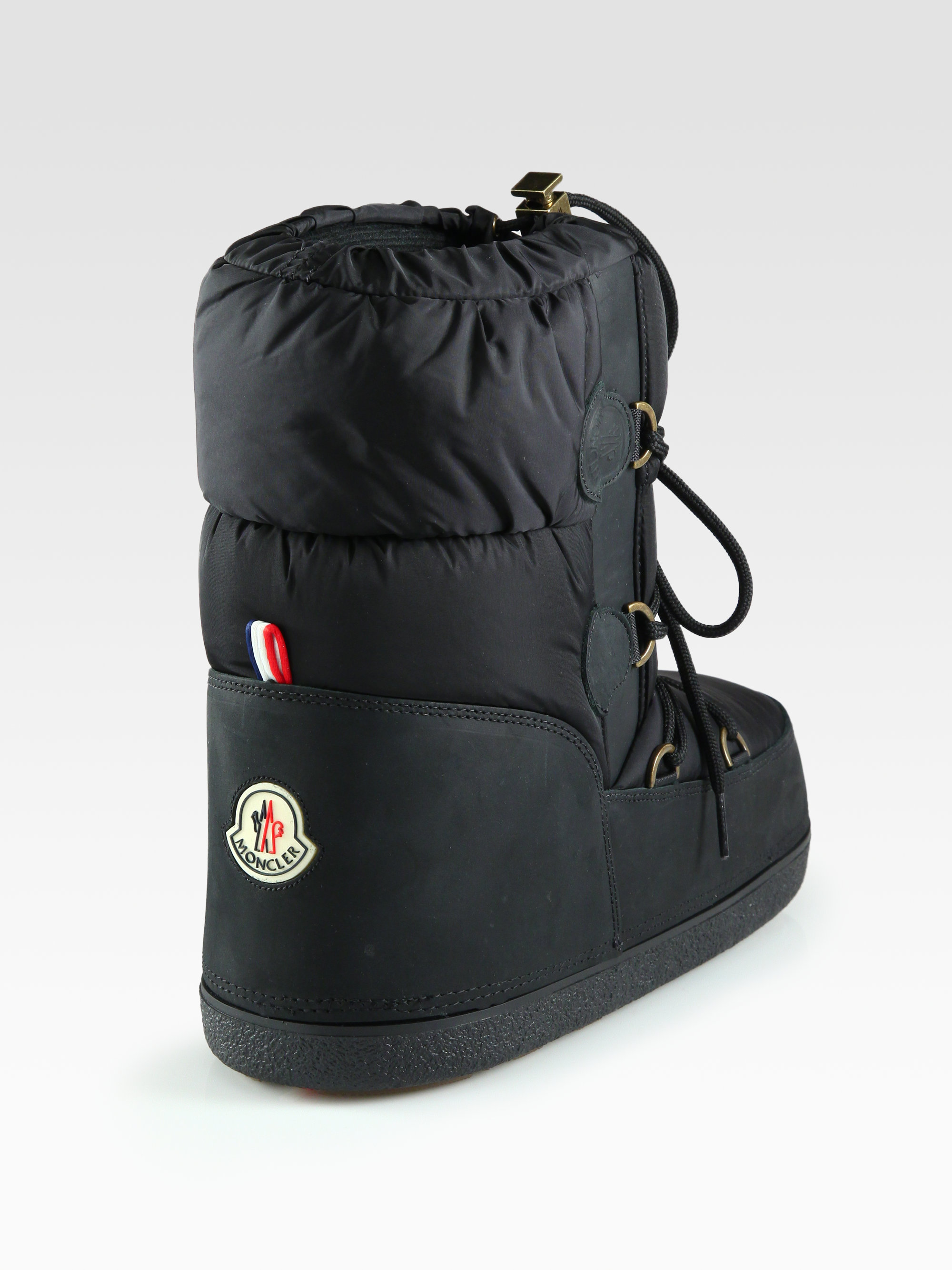 Moncler Nylon Leather Laceup Moon Boots In Black Lyst