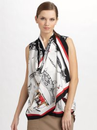 Dkny Silk Crepedechine Scarf Blouse in White | Lyst