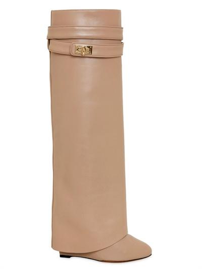 Givenchy 110mm Shark Lock Calfskin Tall Boots In Natural