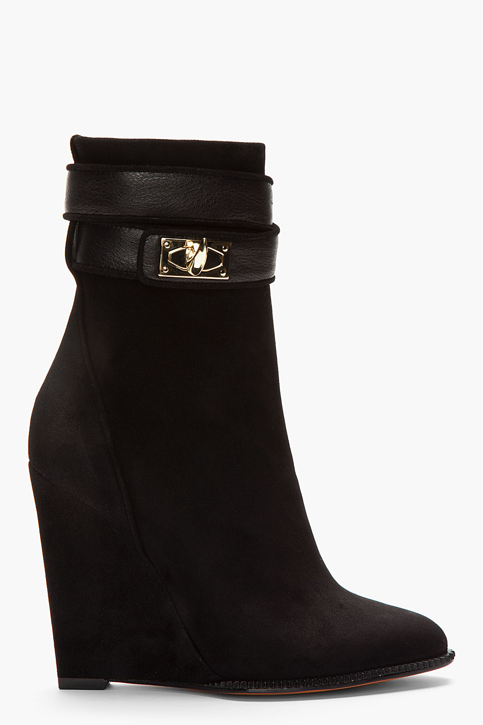 Givenchy Black Suede Shark Lock Ankle Boots In Black Lyst