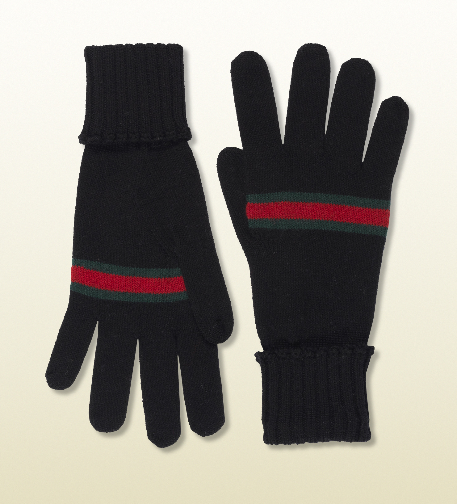 Gucci black wool gloves with web in black for men lyst