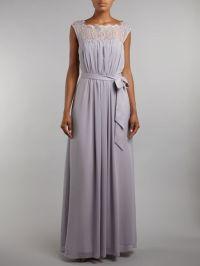 Ariella Bridesmaid Lace Chiffon Maxi Dress in Gray (Grey ...