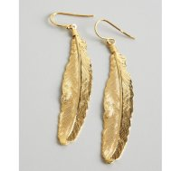 Lyst - A.v. max Gold Metal Feather Earrings in Metallic