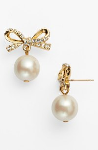 Kate Spade Skinny Mini Bow Drop Earrings in Beige (cream ...