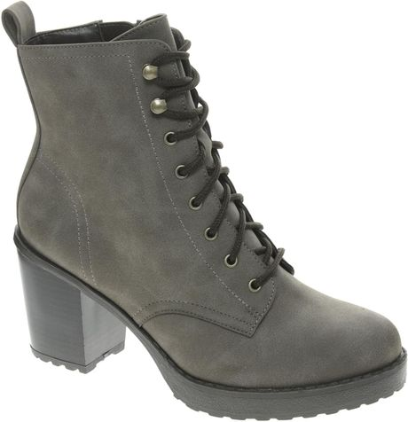 Asos New Look Camden Chunky Work Lace Up Heeled Boots In