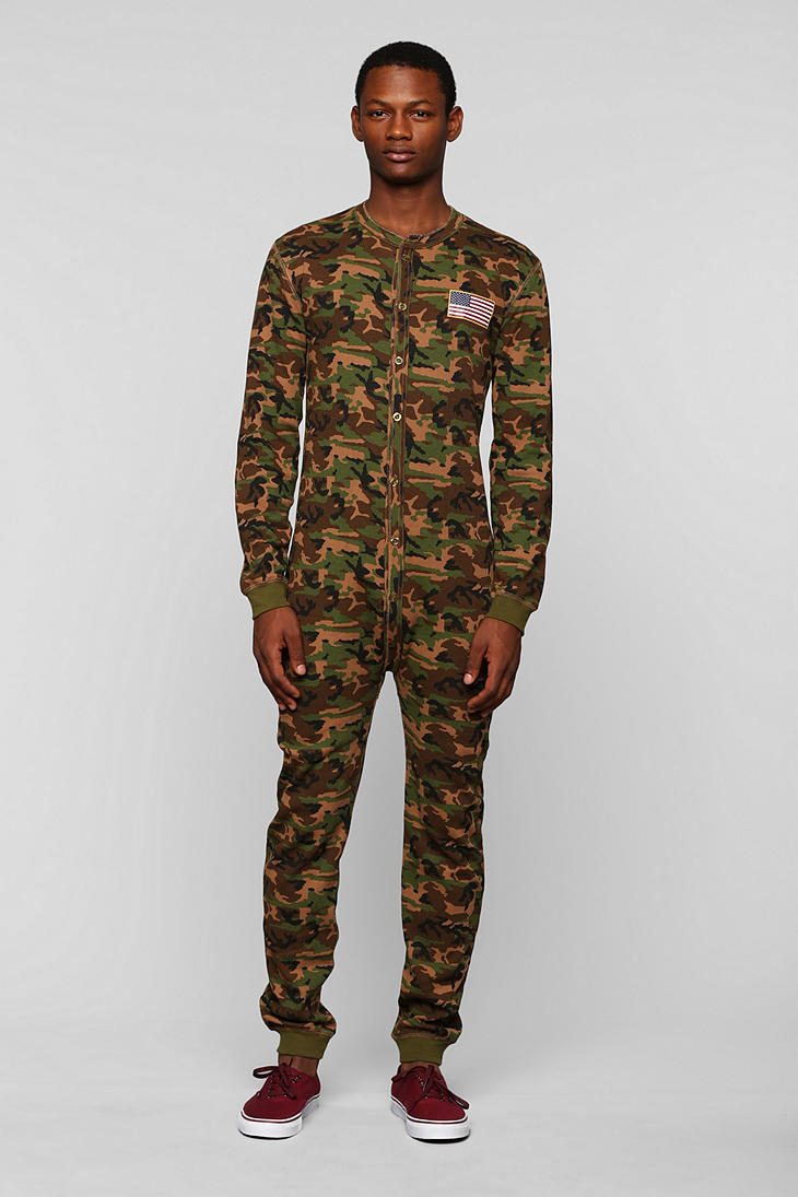 Under Armour Camo Hoodie Mens Lyst Urban Outfitters Toddland Camo Union Suit In Green