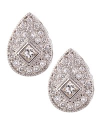 Lyst - Charriol White Gold Teardrop Diamond Earrings in ...