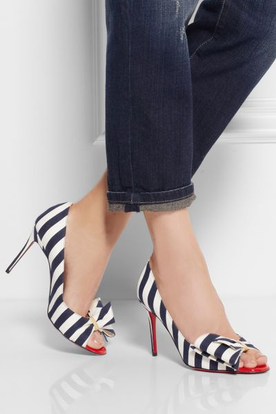 Charlotte Interior Designers Christian Louboutin Just Soon 85 Striped Canvas Pumps In