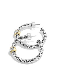 Lyst - David Yurman Metro Hoop Earrings With Diamonds in ...
