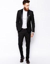 Asos Slim Tuxedo Suit Jacket in Black for Men | Lyst