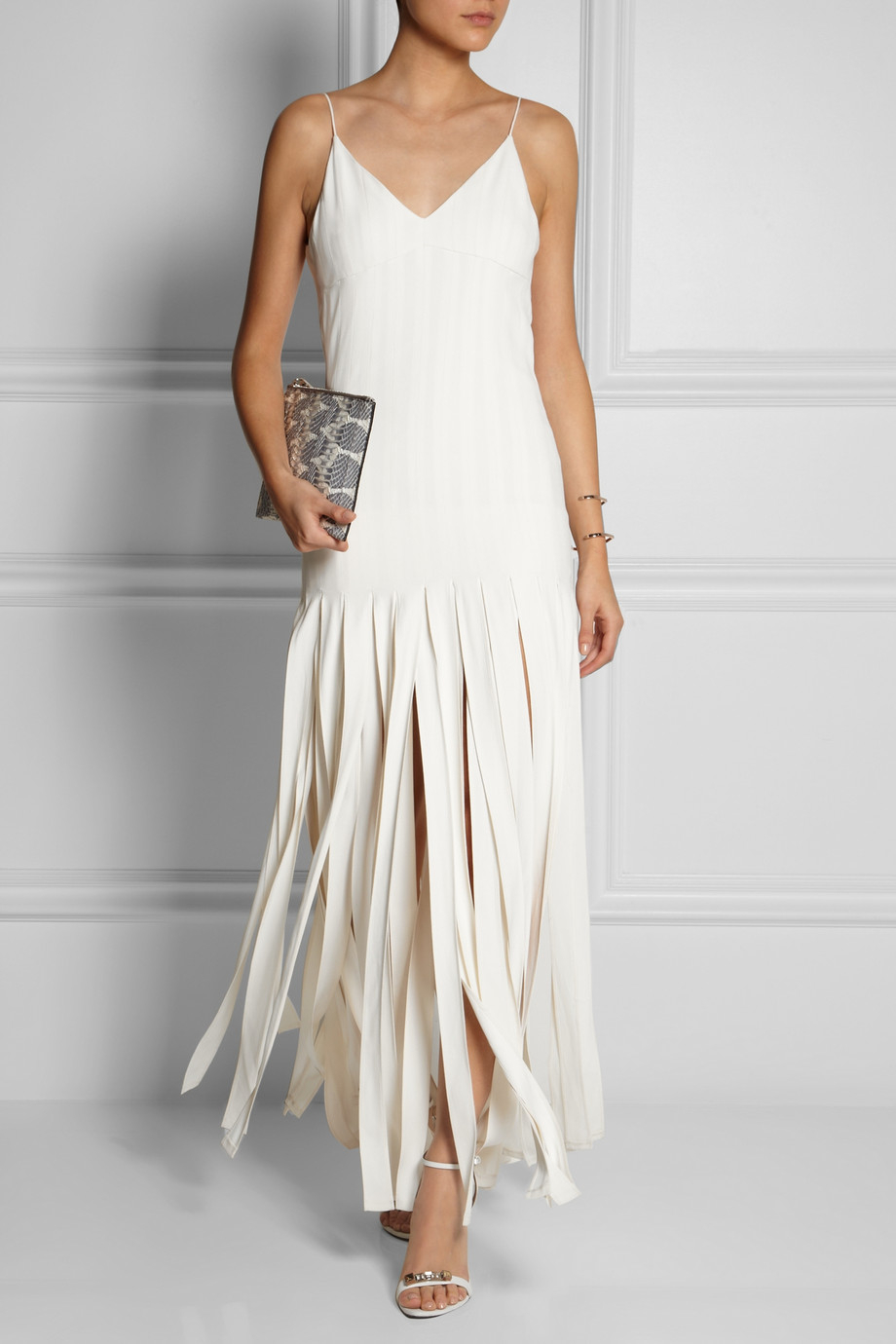Long Fringe Maxi Skirt Lyst Topshop Fringed Stretchcrepe Maxi Dress In White