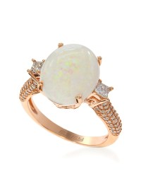 Effy 14k Rose Gold Opal And Diamond Ring in White | Lyst