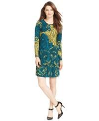 Lyst - Spense Petite Long-sleeve Printed Dress in Blue