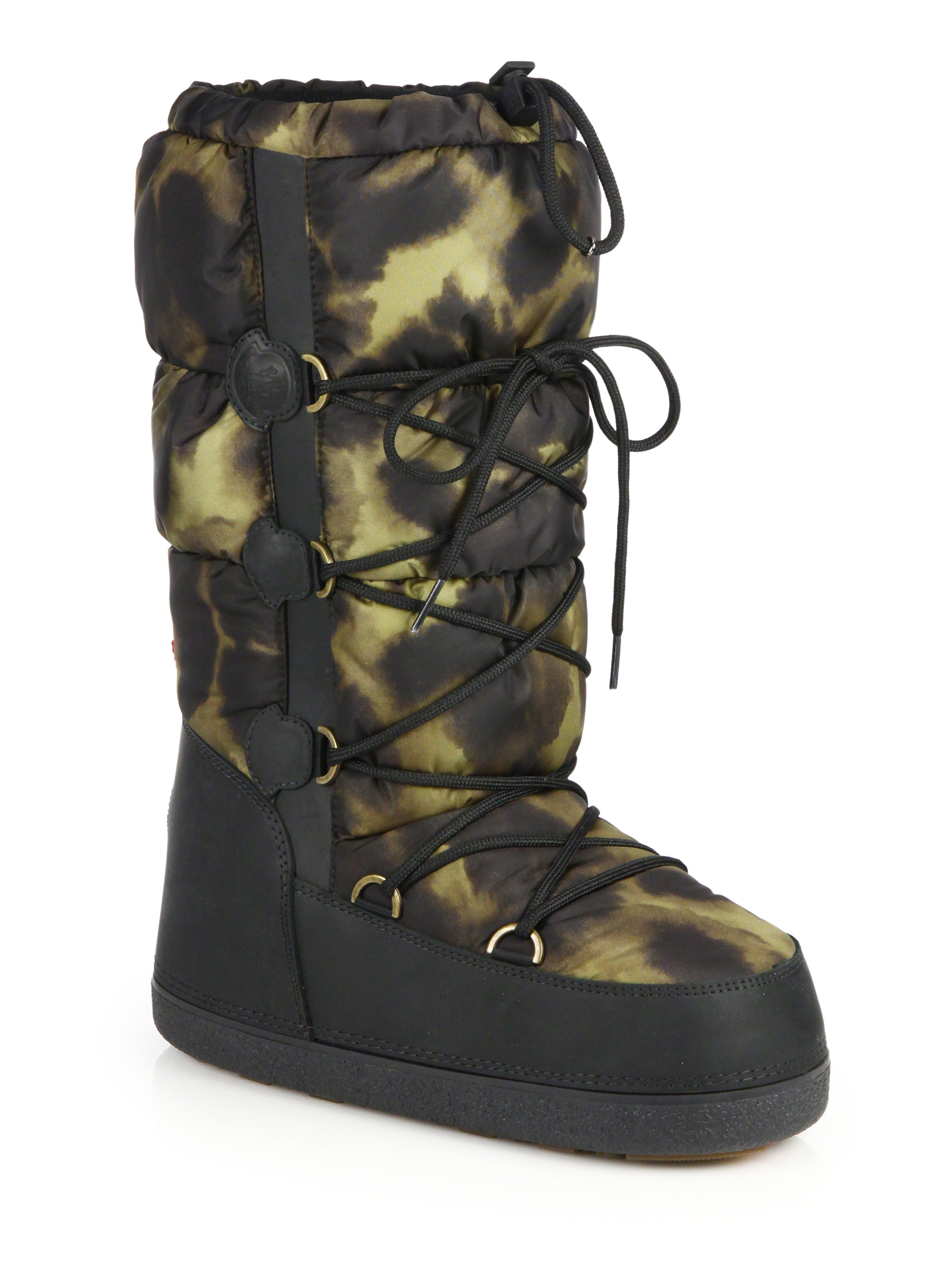 Moncler Leopard Print Quilted Moon Boots In Black Lyst
