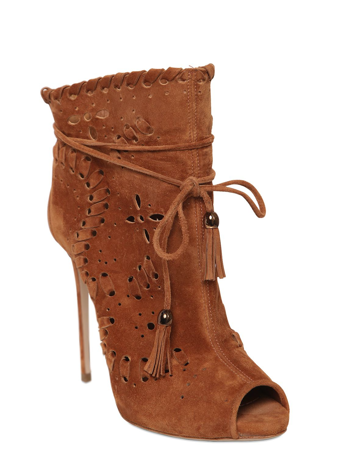 Le Silla Boots Le Silla 110mm Perforated Open Toe Suede Boots In Brown Lyst