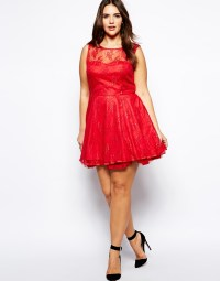 Lyst - Ax Paris Plus Size Lace Skater Dress in Red