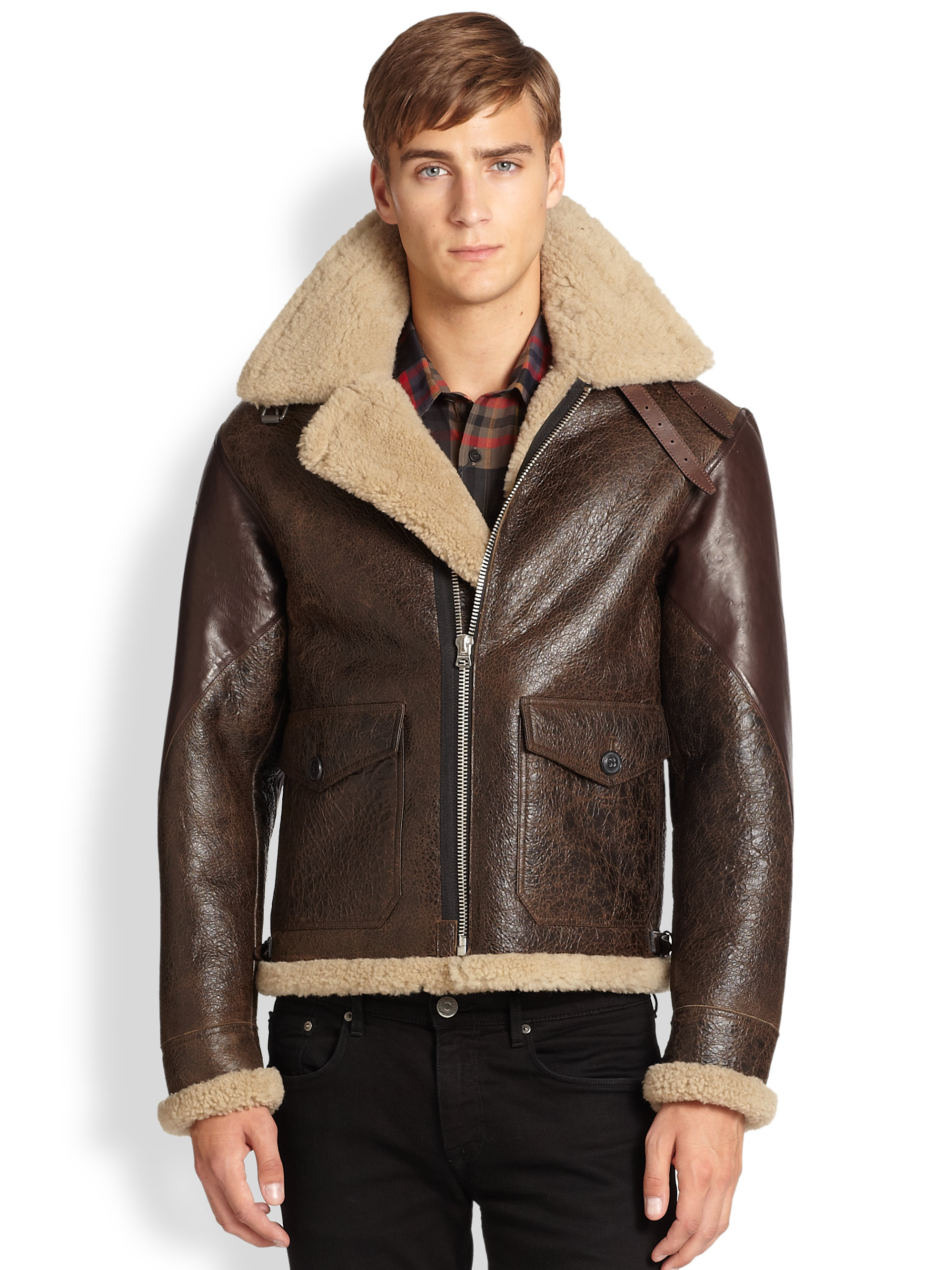 Blouson Aviateur Homme Lyst - Burberry Brit Ormsby Leather Shearling Aviator