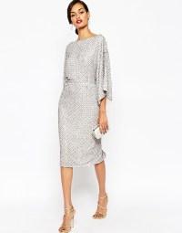 Asos Petite Red Carpet Sequin Grid Kimono Midi Dress in ...
