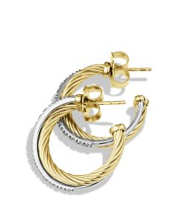 David yurman Crossover Small Hoop Earrings With Diamonds ...