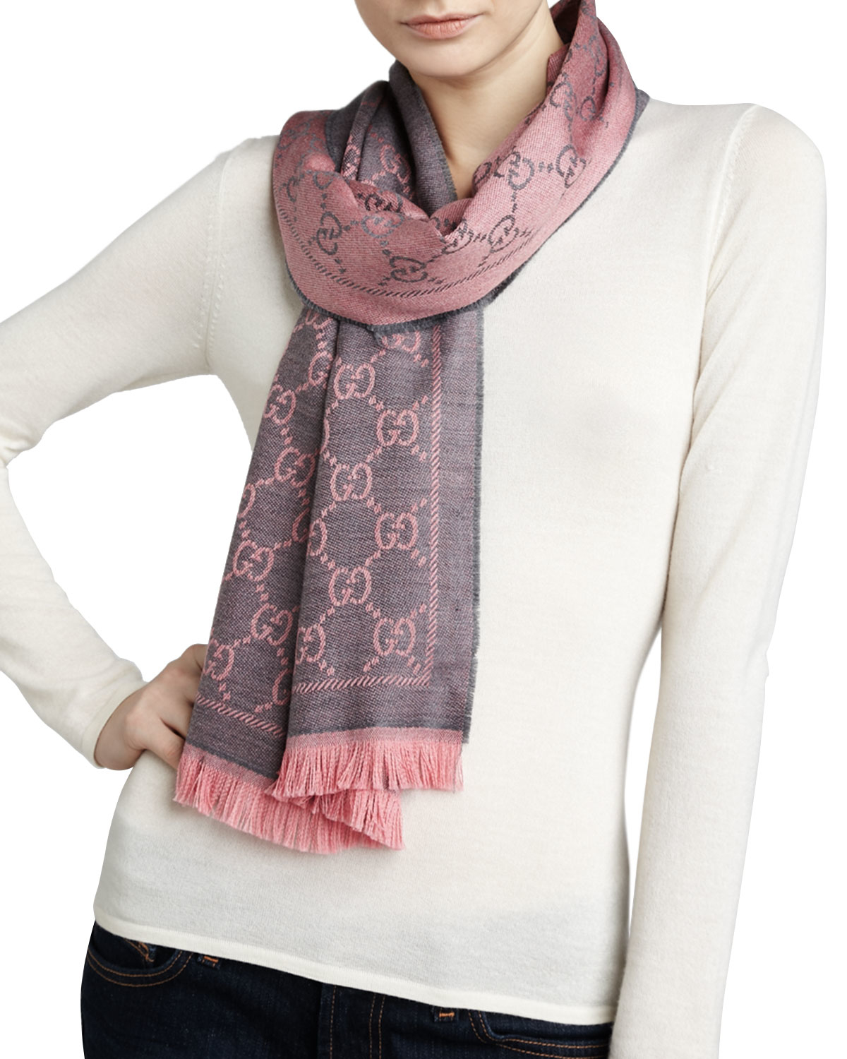 Scarves With Company Logo Lyst Gucci Logo Print Wool Scarf In Pink