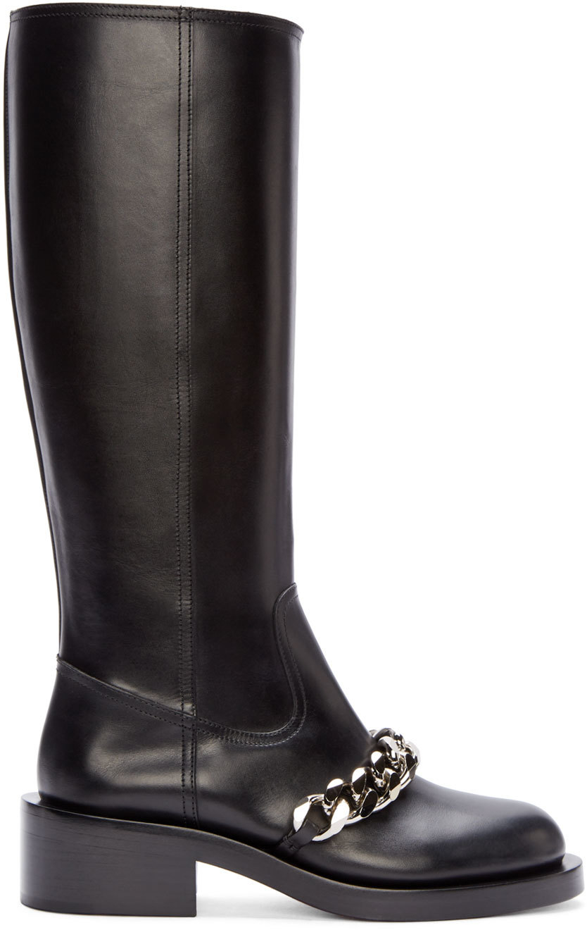 Lyst Givenchy Black Leather Chain Pira Tall Boots In Black