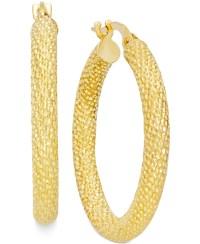 Macy's Textured Hoop Earrings In 10k Gold in Gold (Yellow ...