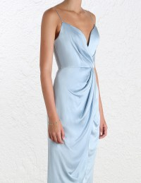 Zimmermann Sueded Silk Plunge Long Dress | Blue Cocktail ...