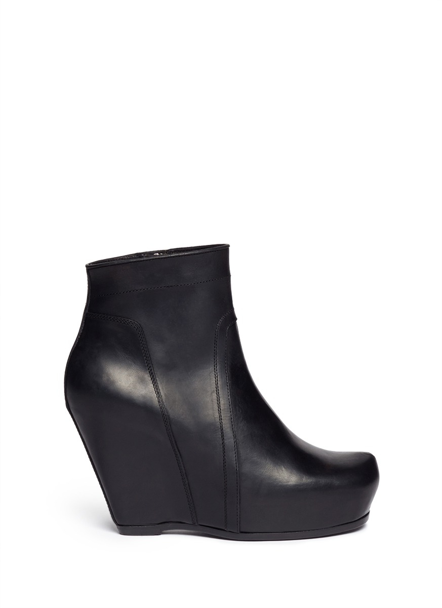 Lyst Rick Owens Platform Wedge Leather Ankle Boots In Black