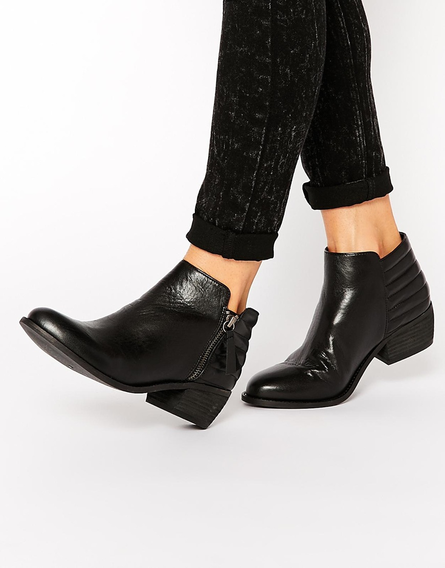 Lyst Dune Petrie Black Leather Ridge Flat Ankle Boots In