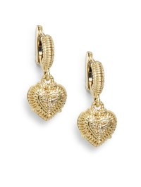 Lyst - Judith Ripka Diamond 14k Yellow Gold Heart Drop ...