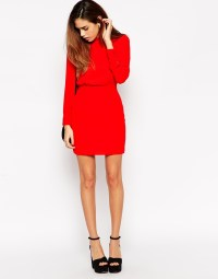 Asos Petite Mini Dress With High Neck in Red | Lyst