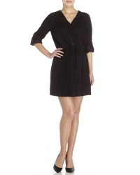 Max studio Belted Keyhole Shirtdress in Black | Lyst