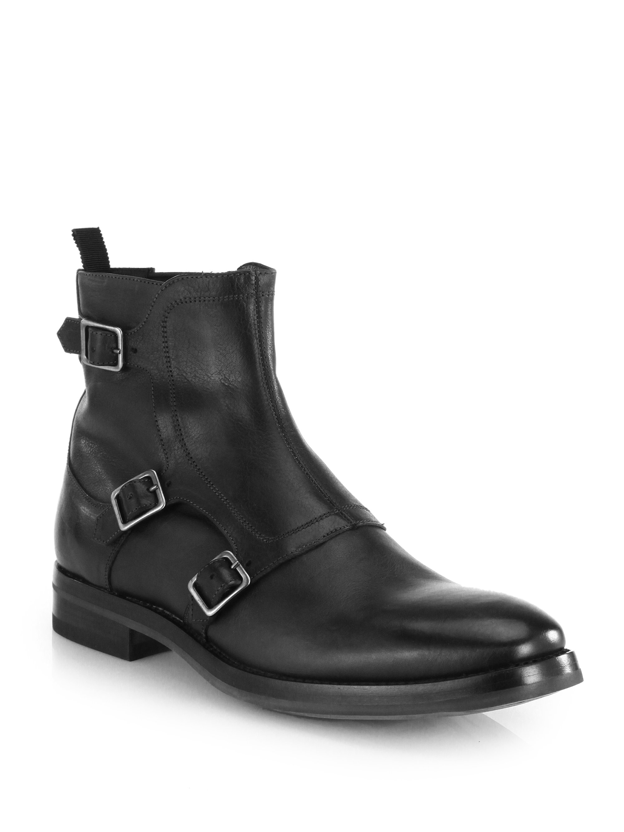 Alexander Mcqueen Triple Monk Strap Boots In Black For Men