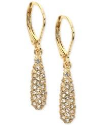Anne klein Gold-tone Pav Drop Earrings in Gold | Lyst