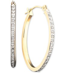 Macy's 14k White Or Yellow Gold Earrings, Diamond Accent ...