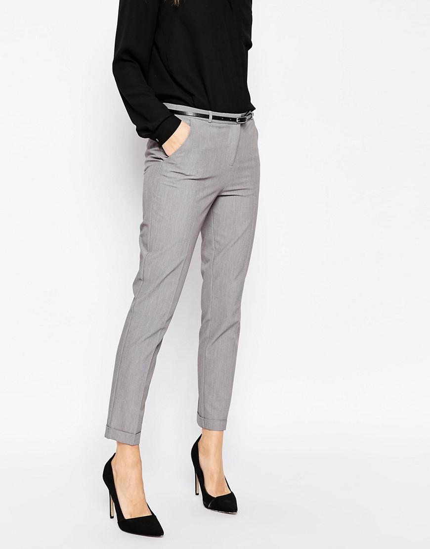 Grey Colour Formal Pant Lyst Asos Cigarette Trousers With Belt In Gray