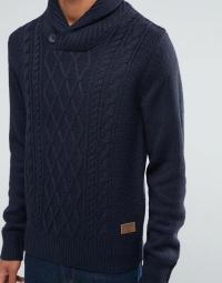Lyst - Threadbare Shawl Neck Cable Knit Jumper in Blue for Men