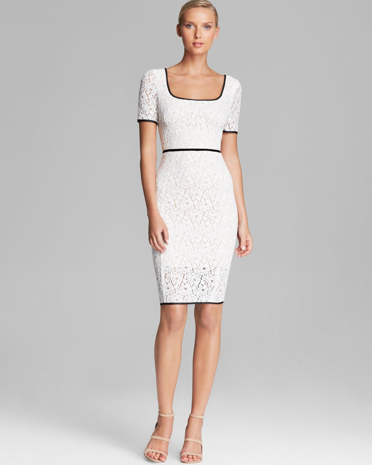 Precious Abs By Allen Schwartz Dress Square Neck Short Sleeve Lace Sheath Mini Dresses Product 1 20962383 0 596153011 Normal Square Neck Dress Uk Square Neck Dress Boohoo wedding dress Square Neck Dress
