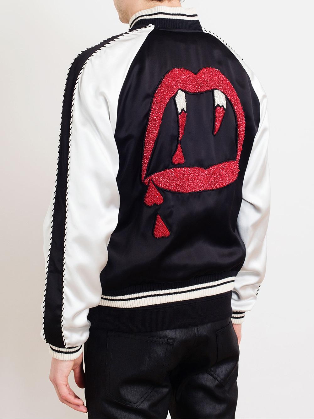 Polo Wallpaper For Iphone Saint Laurent Vampire Motif Satin Bomber Jacket In Black