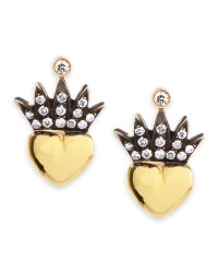 Irit design Heart & Pave Diamond Crown Stud Earrings in ...