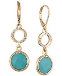 Anne klein Gold-tone Stone And Pav Double Drop Earrings ...